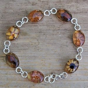 Native American 925 Pressed Dried Flower Bracelet